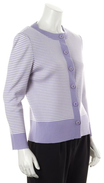 ST. JOHN Lavender Purple White Striped Ried Knit Cardigan