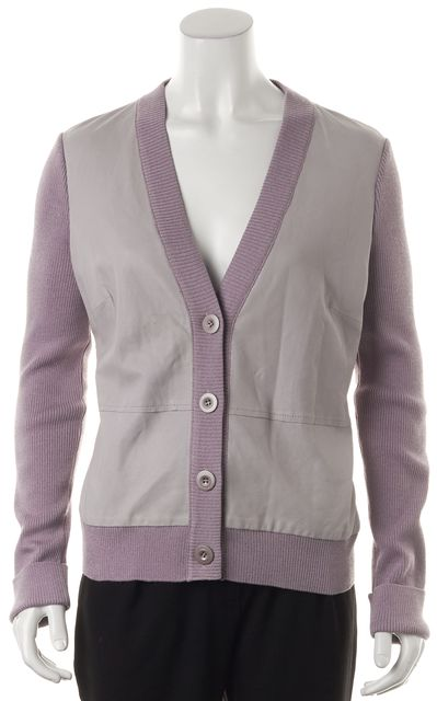 ST. JOHN Lavender Purple Wool Leather Panel Button Front Cardigan