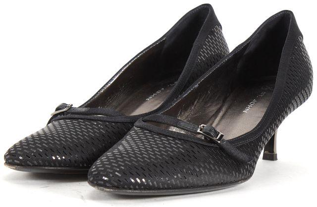 ST. JOHN Black Satin Embellished Mary Jane Kitten Heels