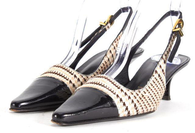 ST. JOHN Ivory Brown Calf-Hair Patent Leather Slingback Kitten Heels