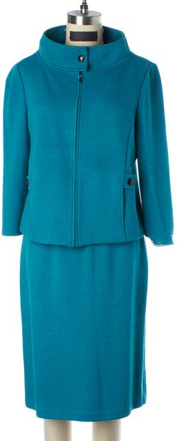 ST. JOHN Blue Teal Wool Santana Knit Skirt Suit Suit Set