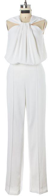 ST. JOHN White Halter Pleated Jumpsuit