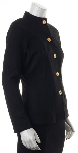 ST. JOHN Black Gold Button Pocket Front Basic Jacket