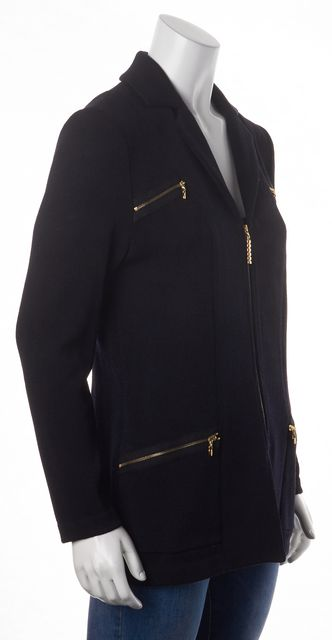ST. JOHN Black Santana Knit Gold Zipper Trim Basic Jacket