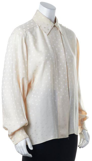 ST. JOHN Ivory Polka Dot Silk Button Down Shirt