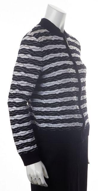 ST. JOHN Black White Striped Wool Basic Full Zip Jacket