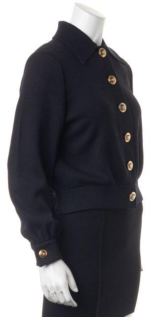 ST. JOHN Black Wool Santana Knit Basic Button Front Jacket