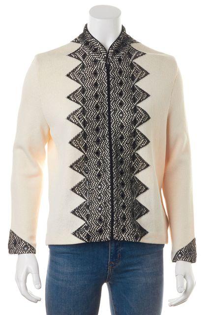 ST. JOHN Ivory Black Embellished Embroidered Zip-Up Basic Jacket