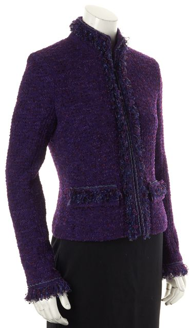 ST. JOHN Purple Tweed Fringe Trim Jacket
