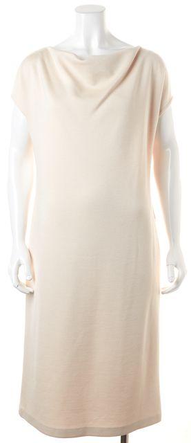 ST. JOHN Ivory Wool Cowl Neck Knee-Length Shift Dress