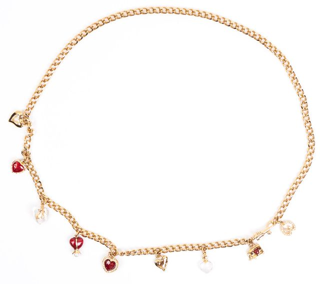 ST. JOHN Gold Red Heart Charm Chrystal Embellished Chain Belt
