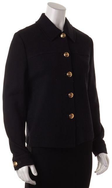 ST. JOHN Black Santana Knit Button Front Basic Jacket