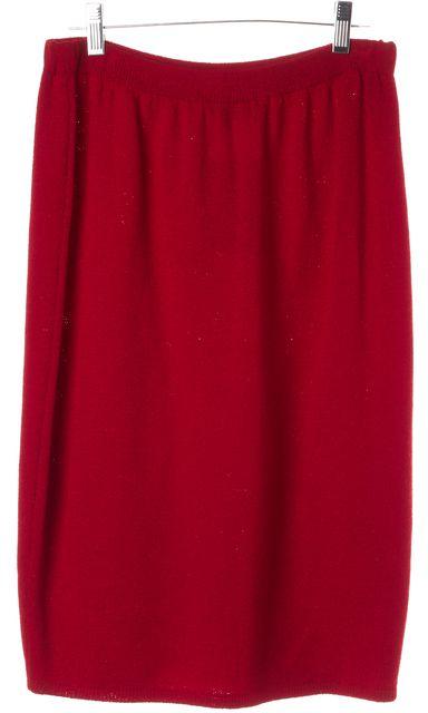 ST. JOHN Red Santana Knit Straight Skirt