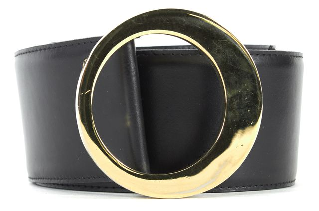 ST. JOHN Black Leather Gold Tone Hardware Wide Belt