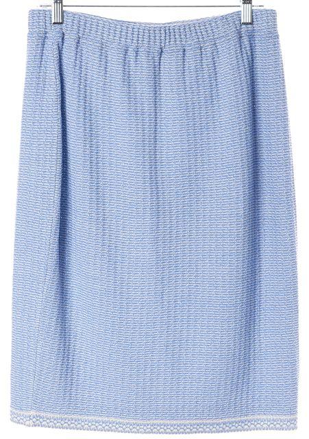 ST. JOHN Sky Blue Knit Straight Skirt