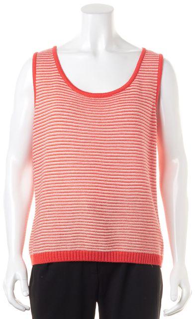 ST. JOHN Pink White Striped Wool Tank Top