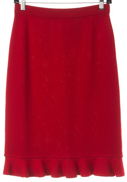 ST. JOHN Red Knit A-Line Skirt