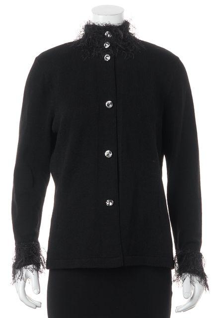 ST. JOHN Black Fringe Embellished Collar Cuffs Gem Buttons Jacket