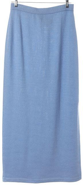 ST. JOHN Cornflower Blue Santana Knit Side Slit Full Length Maxi Skirt