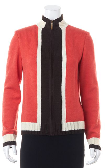 ST. JOHN Orange Ivory Brown Colorblock Wool Knit Zip Up Basic Jacket