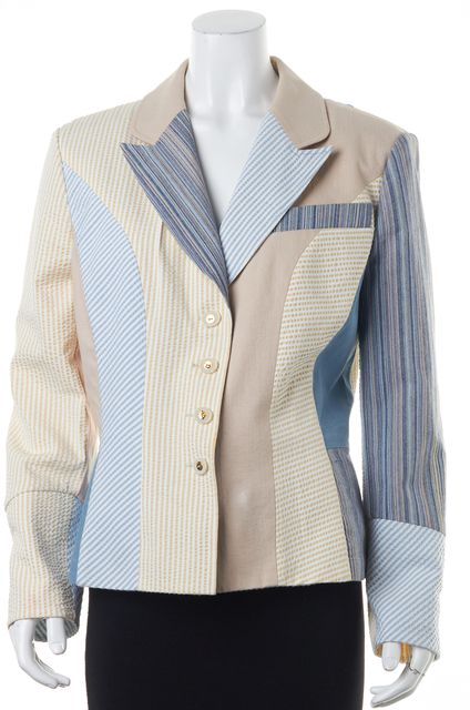 ST. JOHN Beige Blue White Striped Patch Work BasicButton Front Jacket