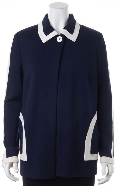 ST. JOHN Navy Blue White Trim Wool Santana Knit Basic Sweater Jacket