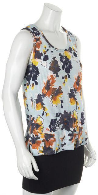 ST. JOHN Blue Multi-color Floral Sleeveless Rayon Blend Knit Top