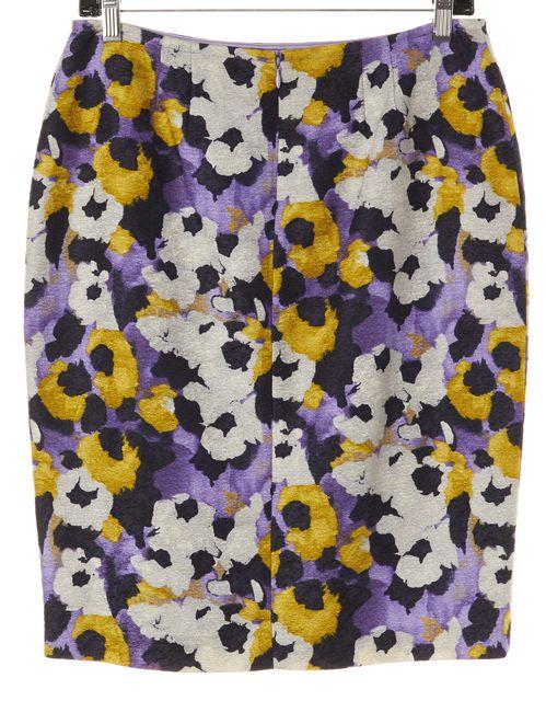 ST. JOHN Purple Yellow Floral Wool Pencil Skirt
