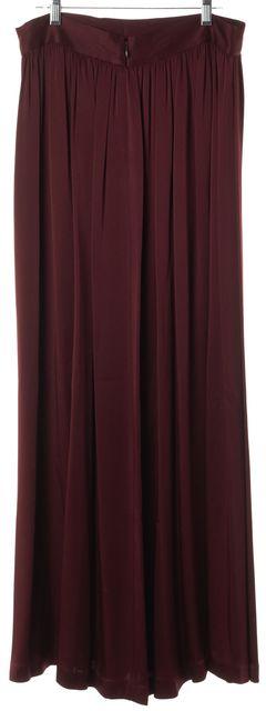ST. JOHN Burgundy Red Pleated Maxi Skirt