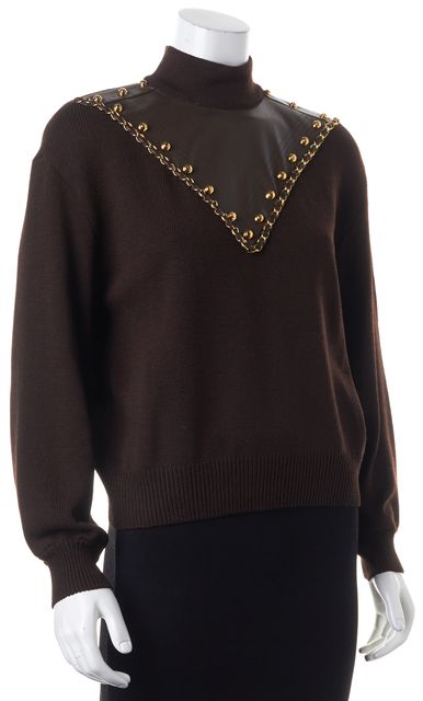 ST. JOHN Brown Wool Knit Leather Patch Work Chain Link Mock Neck Sweater