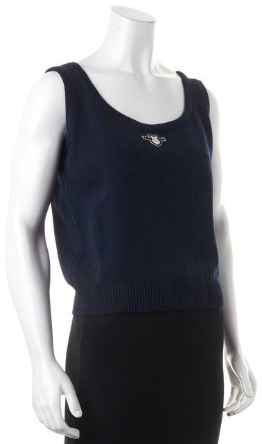 ST. JOHN Navy Blue Wool Santana Knit Sleeveless Top