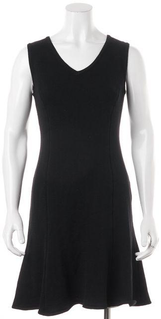 ST. JOHN Black Wool Knit V-Neck Sleeveless Fit & Flare Dress