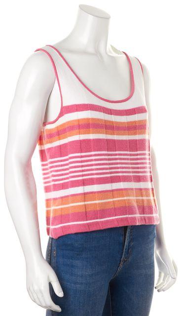 ST. JOHN White Pink Striped Wool Knit Top