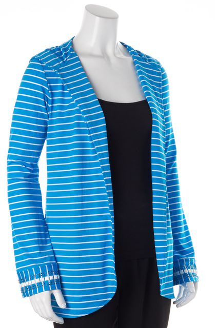 ST. JOHN SWIM Blue White Striped Bead Embellished Silk Open Hooded Jacket