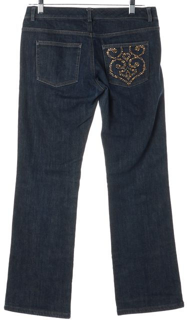 ST. JOHN Blue Embellished Pocket Cropped Jeans