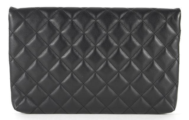 ST. JOHN Black Gold Quilted Leather Envelope Clutch Bag