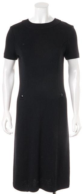 ST. JOHN Black Santana Knit Short Sleeve Knee Length Dress