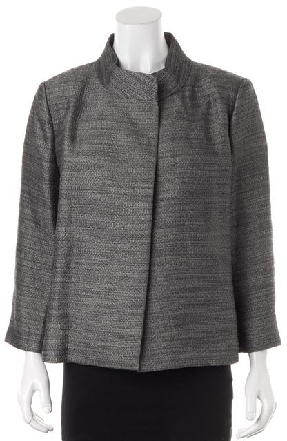 ST. JOHN Gray Silver Embroidered Wool Open Basic Jacket