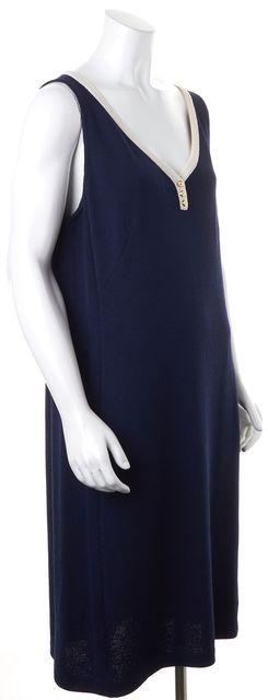 ST. JOHN Navy Blue Ivory Trim Santana Knit Sleeveless V-Nec Sheath Dress