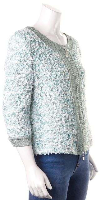 ST. JOHN Metallic Mint Green White Textured Boucle Knit Zip Jacket