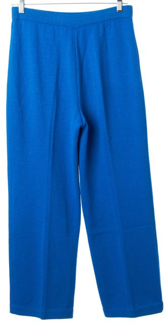 ST. JOHN Royal Blue Santana Knit High Rise Wide Leg Cropped Dress Pants