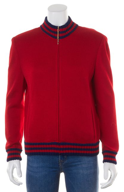 ST. JOHN Red Blue Wool Knit Front Pockets Zip Up Jacket