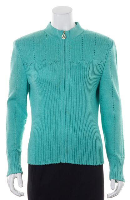 ST. JOHN Green Wool Ribbed Knit Perforated Trim Zip Up Jacket