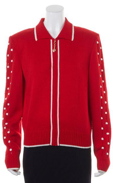 ST. JOHN Red White Wool Knit Sheer Sleeve Trim Zip Up Jacket