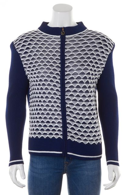 ST. JOHN Blue White Geometric Embroidered Ribbed Knit Zip-Up Jacket