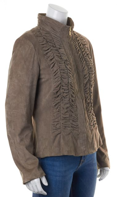 ST. JOHN Brown Suede Leather Ruched Zip-Up Fitted Jacket