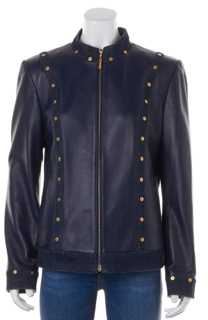 ST. JOHN Navy Blue Embellished Leather Denim Trim Basic Jacket
