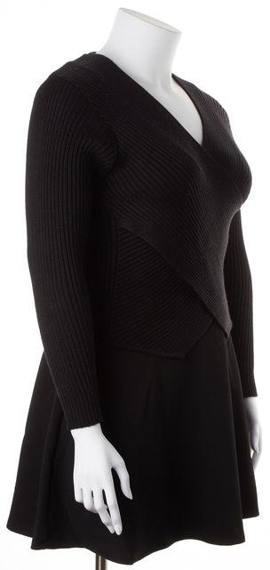 ST. JOHN Solid Black V-Neck Medium Knit Wrap Sweater