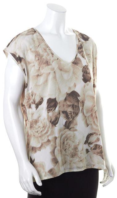 ST. JOHN Brown Beige Floral Print Sleeveless Silk Blouse