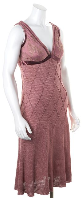 ST. JOHN Metallic Pink Metallic Empire Waist Diamond Knit Sheath Dress